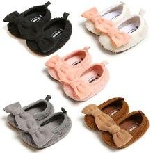 Тапочки принцессы с бантом для новорожденных девочек; обувь с круглым носком; детская флисовая обувь
