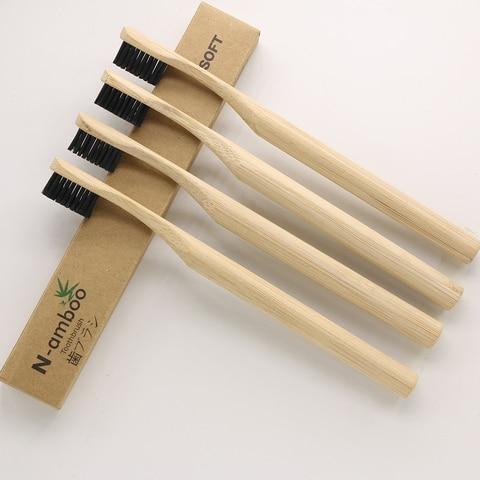 100 pecas de bambu escova de dentes caixas em branco escova de dentes adulto cerdas
