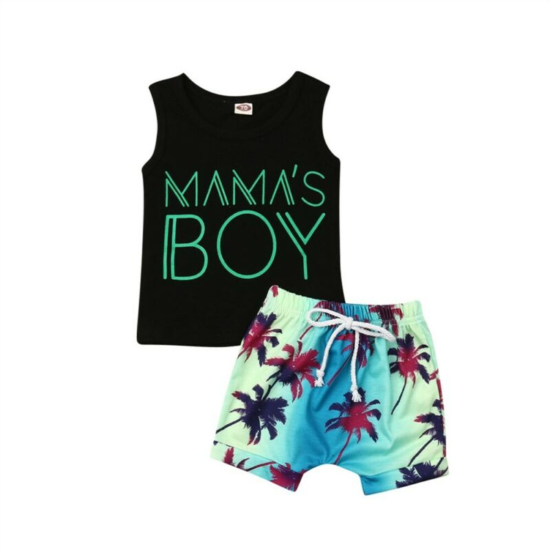 2020 Toddler Baby Boy Clothes Set Holiday Cotton 0-24M 2Pcs Summer Outfits Letter Sleeveless Vest Tank Tops+Print Lace Up Shorts