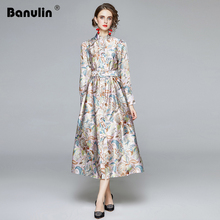2020 Autumn Runway Long Dress Women's Lantern Sleeve Stand Collar Gorgeous Flower Print Buttons Down Holiday Dress with Belt