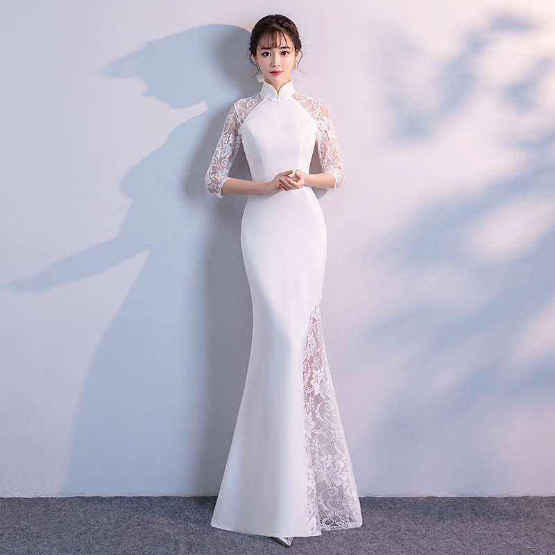 White Lace Perspective Qipao Vintage Lady Mandarin Collar Mermaid Party Prom Dress Sexy Long Slim Cheongsam Vestidos Defesta