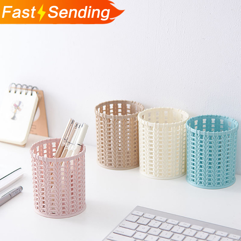 Creative Imitation Rattan Plastic Pen Container Simple Pure Color Hollow Desktop Pencil Case Office School Stationery Support