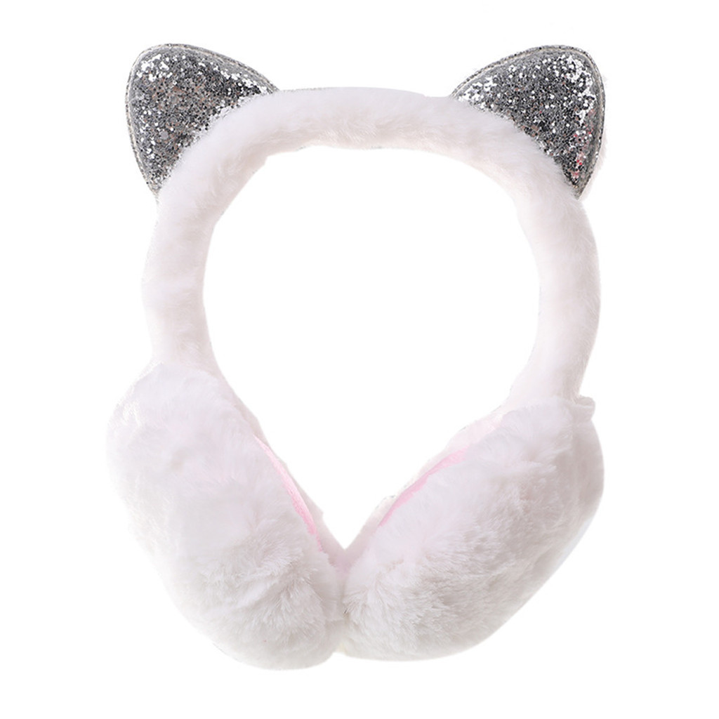 Women's Cute Earuffs New Cat Cats Design Windproof Warm Adjustable Plush Fur Headphones Winter Fashion Casual Ear Cover#P