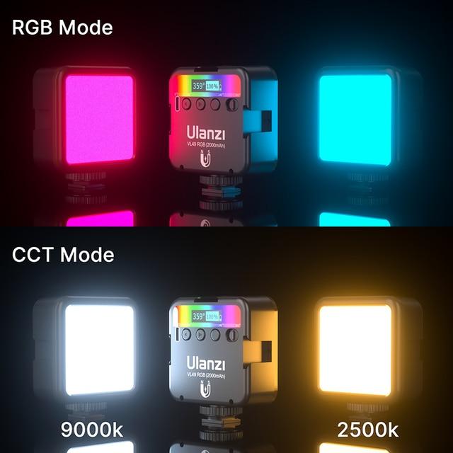 Ulanzi VL49 RGB Video Lights Mini LED Camera Light 2000mAh Rechargable LED Panel Lamp Photo Video Lighting  for Youtube Tik tok 5