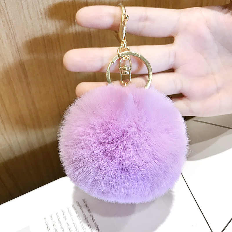 17 Color Big Faux Leather 8cm Fur Pompom Keychain Hair Bulb Bag Pom Pom Ball Key Chain Pendant For Women Lovely Fluffy