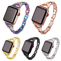 Kette neue mode metall für apple watch band 6 se 5 4 3 2 1 strap 38mm 40mm 42mm 44mm für iwatch schleife 42mm Armband handgelenk frau