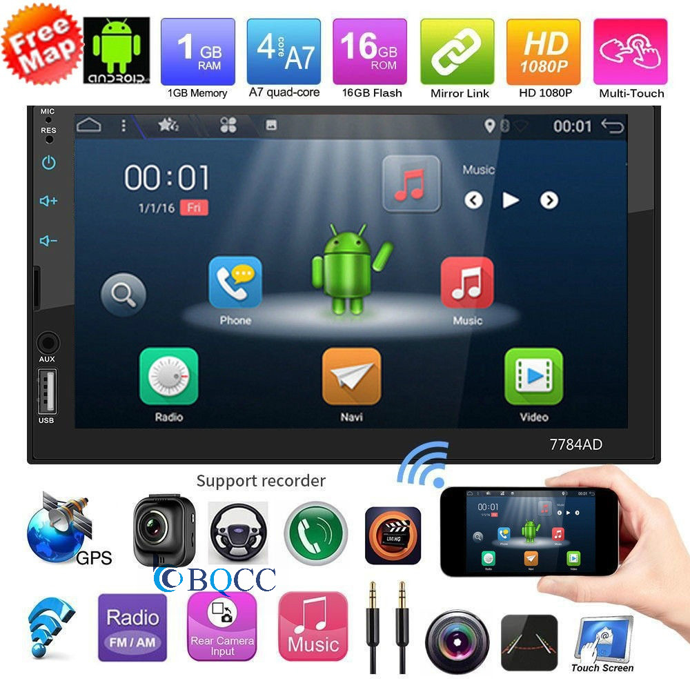 "7/"" Quad Core Android 7.1 WIFI Bluetooth 2DIN Car FM Radio Stereo MP5 GPS Player"