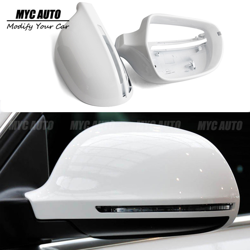 Mirror Cover For Audi A3 8P A4 S4 B8 8K A5 S5 B8 8K A6 S6 C6 4F Q3 SQ3 2008 2009 2010+ Gloss Black &White Rear Vew Mirror Cover image
