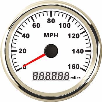 85mm GPS האצות מודד כוונון 0-160MPH עמיד למים GPS מהירות Mileometers 9-32v LCD תצוגה עם אנטנה עבור רכב משאית לבן