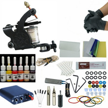 цена на Complete Tattoo Machine Kit Needle Ink Black Power Supply Complete Liner Shader for Beginner