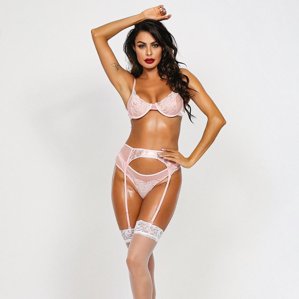 Ellolace Sexy Lingerie Underwear Set Women Erotic Transparent Underwire 3 Piece Set Hollow G-String Thong 2019 Bra & Brief Set Women Women's Clothings Women's Lingeries