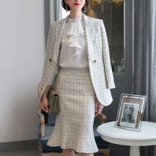 Skirt Suit Plaid Blazer Set 2 Piece Jacket Trumpet Mermaid Office Lady Women Business Uniform  80365