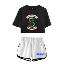 Riverdale Southside Serpents Women Two Piece Sets Sexy Navel Crop Top Pants Summer Women's Casual Sets Clothes Tracksuit Tshirt(China)