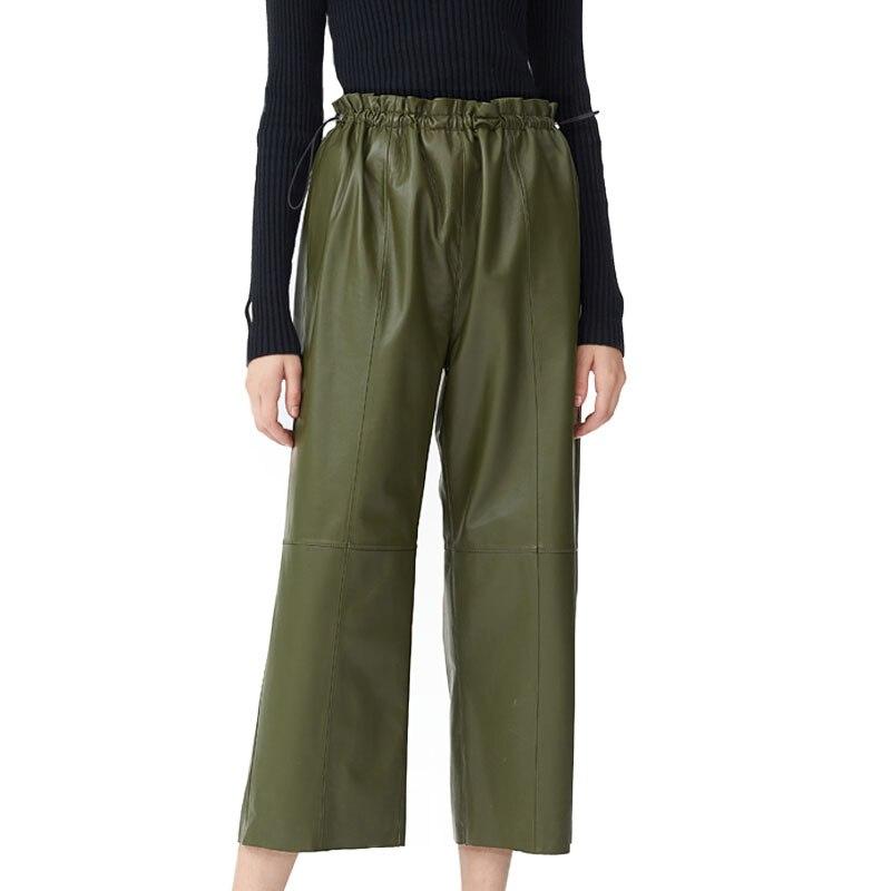 Genuine Leather Pants New Fashion Wide Leg Pants Autumn Women Real Leather Pants