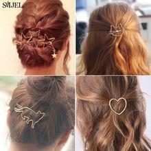 SMJEL Fashion Hollow Cute Cat Hair Pin Imitation Pearl Three Star Hair Clip Accessories Hair Barrette For Women Girl Gifts