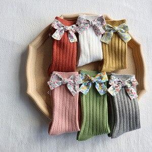 Lovely Bowknot Baby Girl Socks For Newborn Soft Knitted Baby Socks Infant Toddler Ankle Long Socks