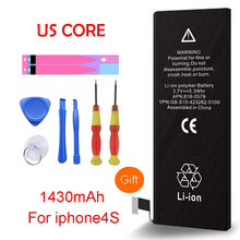 QrxPower High Quality Real Capacity 1430mAh Replacement Li-ion Battery With Tools For Iphone 4s 0 Cycle 1 Year Warranty