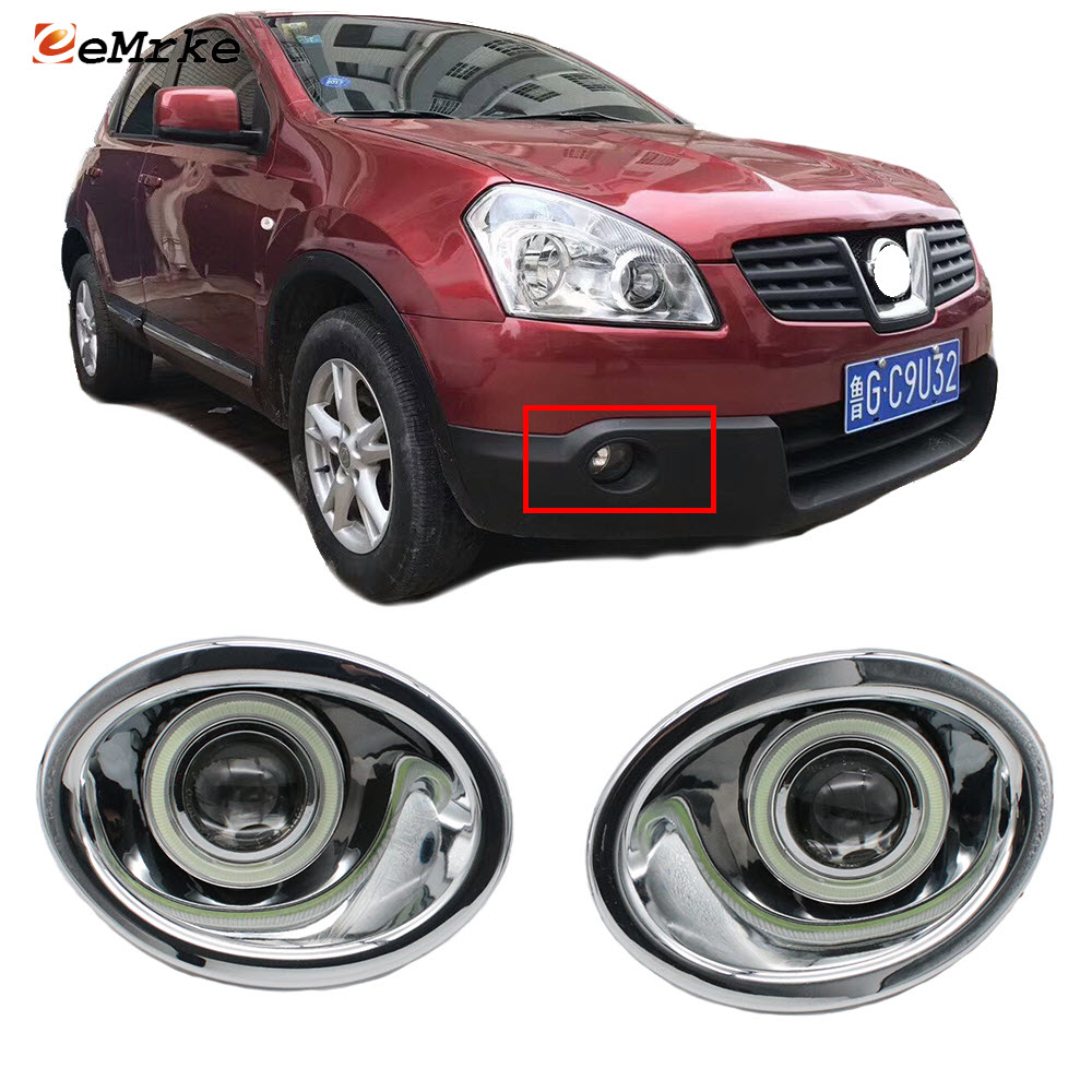 Pair Chrome Front Fog Light Cover Trim ABS Bright For Nissan Qashqai 2007-2013