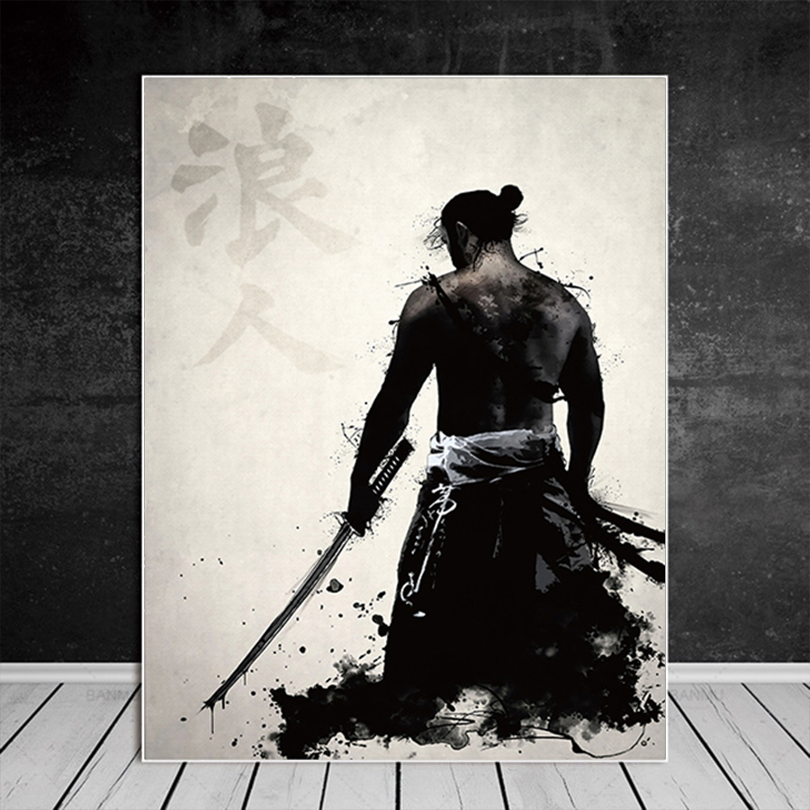He11e0ed449ca41868405c9aae8385762K Japanese Samurai Canvas Oil Painting Modern Wall Art Pictures Canvas Print For Living Room HD Home Decoration Posters And Prints