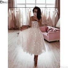 Bling Sequins A Line Spaghetti Straps White Prom Dresses 2019 Tea-length Homecoming Party Dress vestidos de formatura