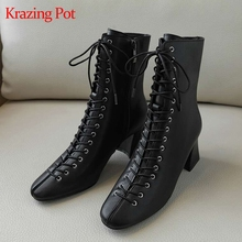 Krazing pot 2019 genuine leather round toe office lady high heels cross tied lace up ankle boots young lady Chelsea boots L67