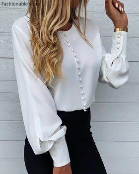 Women Autumn Spring Elegant Plain Button Design Lantern Sleeve Shirt OL Workwear Lady Long Sleeve Solid White Blouse 1