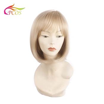цена на Blonde Wig Straight Wavy Curly Synthetic Wigs for Women Short Bobo Wig Glueless Cosplay Hair Wig Free wig cap
