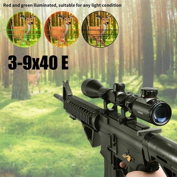 3-9x40EG Optic Hunting Riflescope with Red/Green Illuminated for Air Rifle Optics Hunting Sniper Scopes Sight W/Pair 4