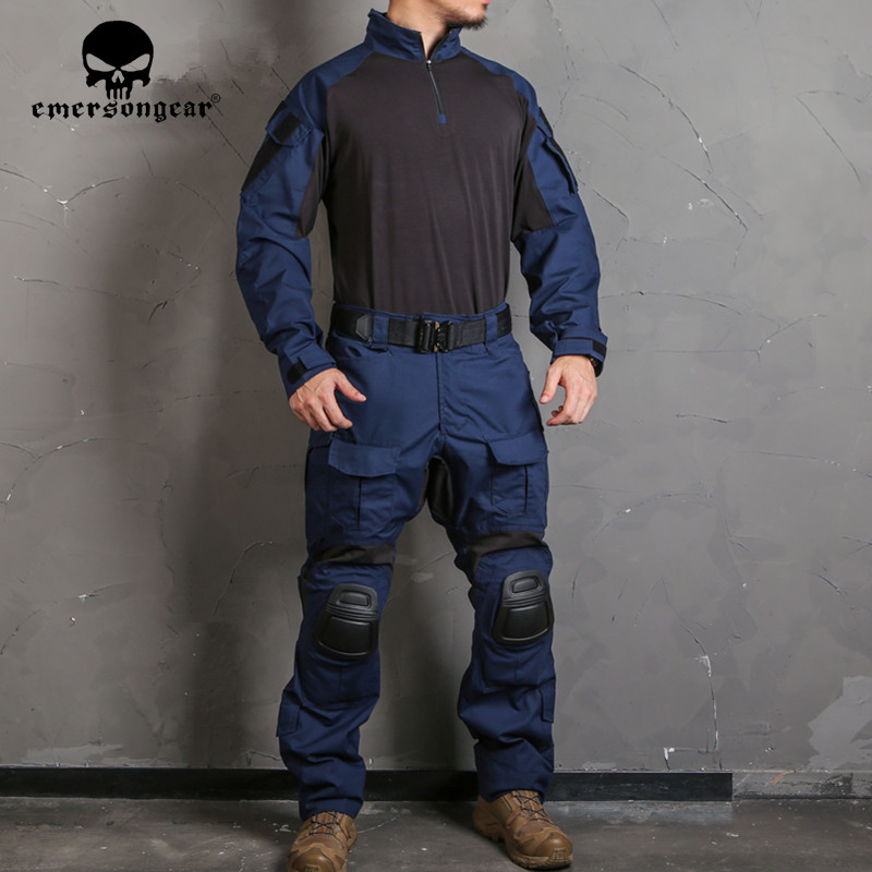 EMERSON Blue Label G3 Combat Pants Shirt Military Tactical Nylon Navy Blue Trousers Mens Duty Training Cargo Pants w Knee Pads image