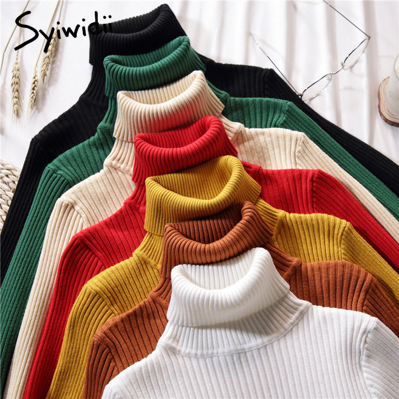 Stretch Women Sweaters Turtleneck Pullovers soft Primer Shirt Long Sleeve Korean Slim-fit Tight Sweater 2019 Autumn Winter Solid(China)