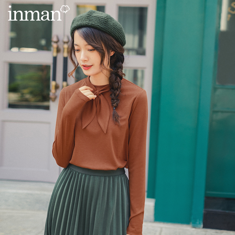 INMAN 2020 Spring New Arrival Solid Color Rabbit Ears Tie Neck Knit Basic Minimalist Women Long Sleeve T-Shirt