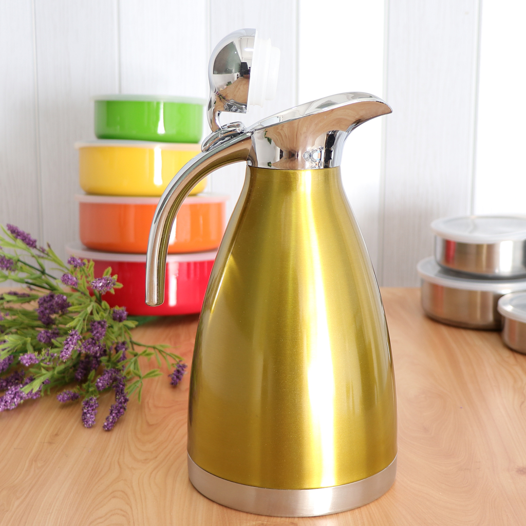 2L Double Wall Vacuum Insulation Thermal Coffee Carafe Home Water Pot