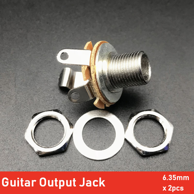 2pcs 1/4 Inch 6.35Mm Stereo Input Jack Plug Socket Switchcraft 2-Conductor Mono Chassis Guitar Jack Guitar Parts & Accessories