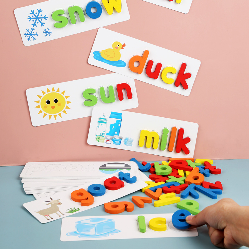 ABC Puzzle Spell Word Game Wooden Toys Early Learning Jigsaw Letter Alphabet Puzzle Preschool Educational Baby Toys For Children