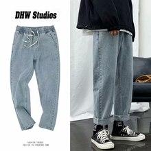 Джинсы мужские свободные прямые штанины брюки резинка талия подросток повседневная резинка брюки рот поп одежда хип хоп широкие штанины длинные ретро