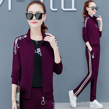 sweatsuits for women 2020 three-piece sweater sports suit womens autumn and summer large size loose long sleeve running casual