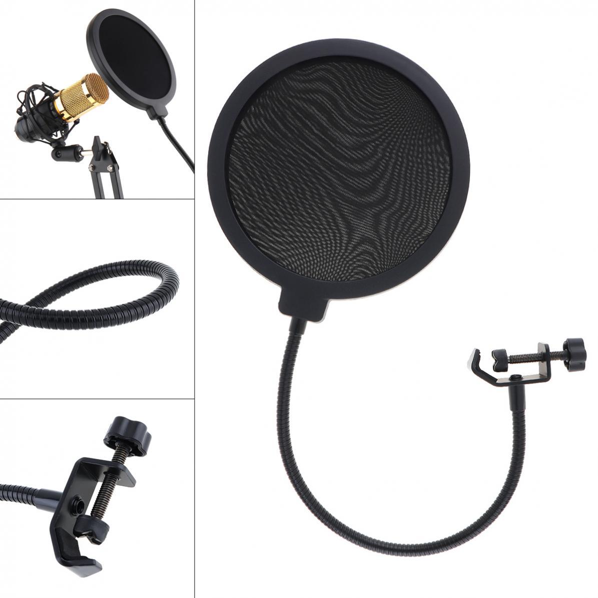 155mm Diameter Double Layer Studio Microphone Flexible Wind Screen Mask Mic Pop Filter Shield For Speaking Recording Accessories