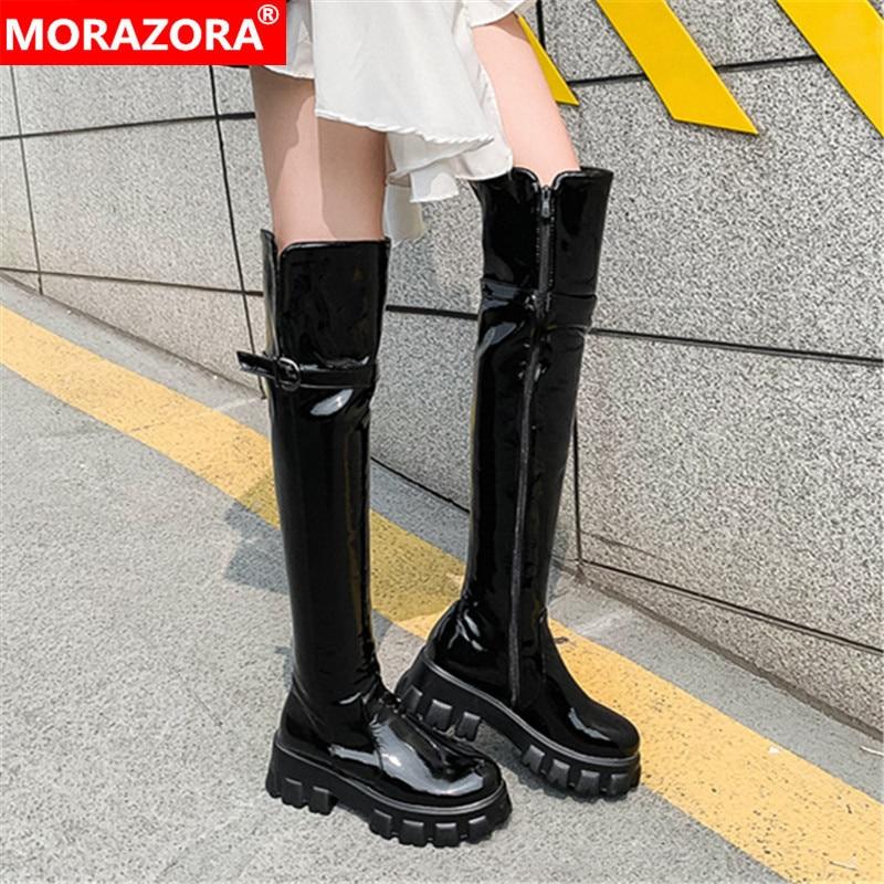 MORAZORA 2020 tamaño grande 33-46 invierno mantener el calor sobre la rodilla botas moda charol hebilla color negro botas de mujer