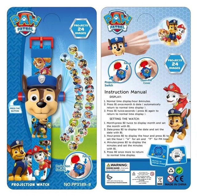 Original Paw Patrol Toys Set 3D Projection Watch Action Figure Birthday Anime Figure Patrulla Canina Toy Gift