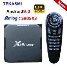 2020 tekasmi android 9.0 caixa de tv 4gb 64gb 32 8k amlogic s905x3 x96 max mais 2.4g & 5g duplo wifi x96max caixa superior ajustada inteligente 2gb 16gb