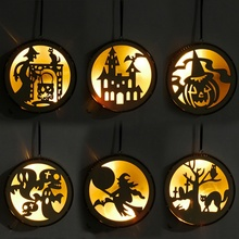 Halloween Round Laser Wooden Hanging Decoration LED Light Party SuppliesCM