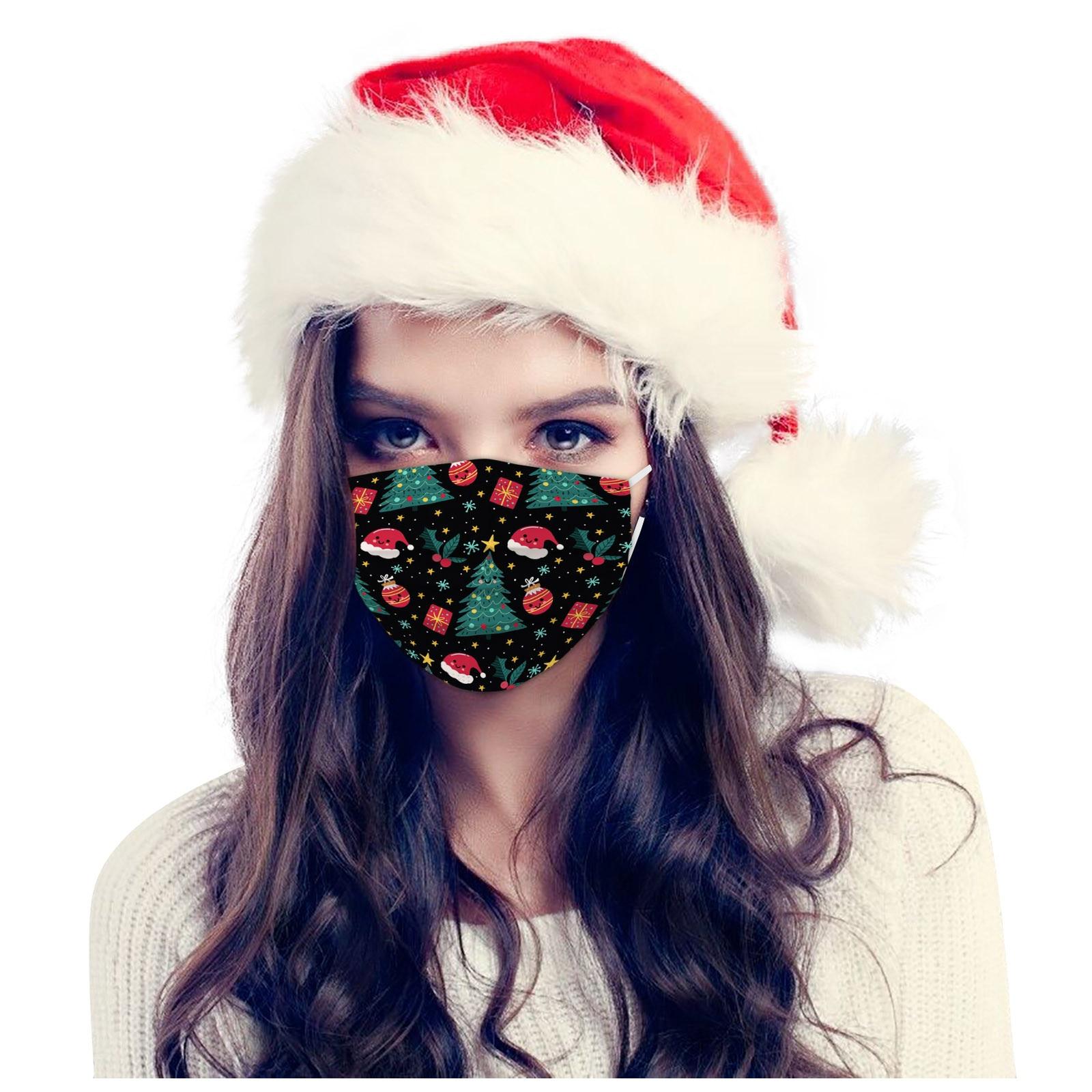 50/10 pces adulto máscara facial descartável máscara de natal moda 3ply orelha laço máscara facial moda mascarillas 3