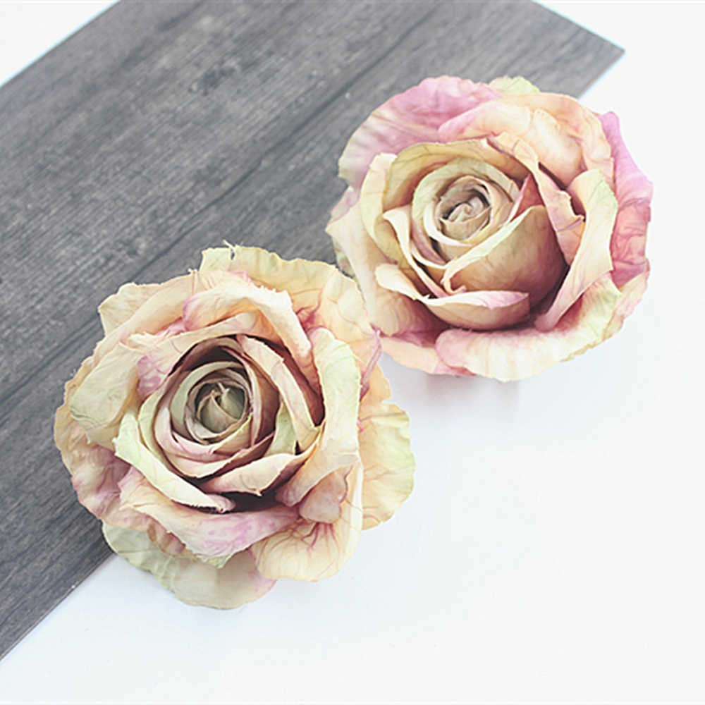 10cm Multi-layer Silk Rose Artificial Flower Head For Wedding Home Decoration DIY Handcraft Wreath Gifts Scrapbooking