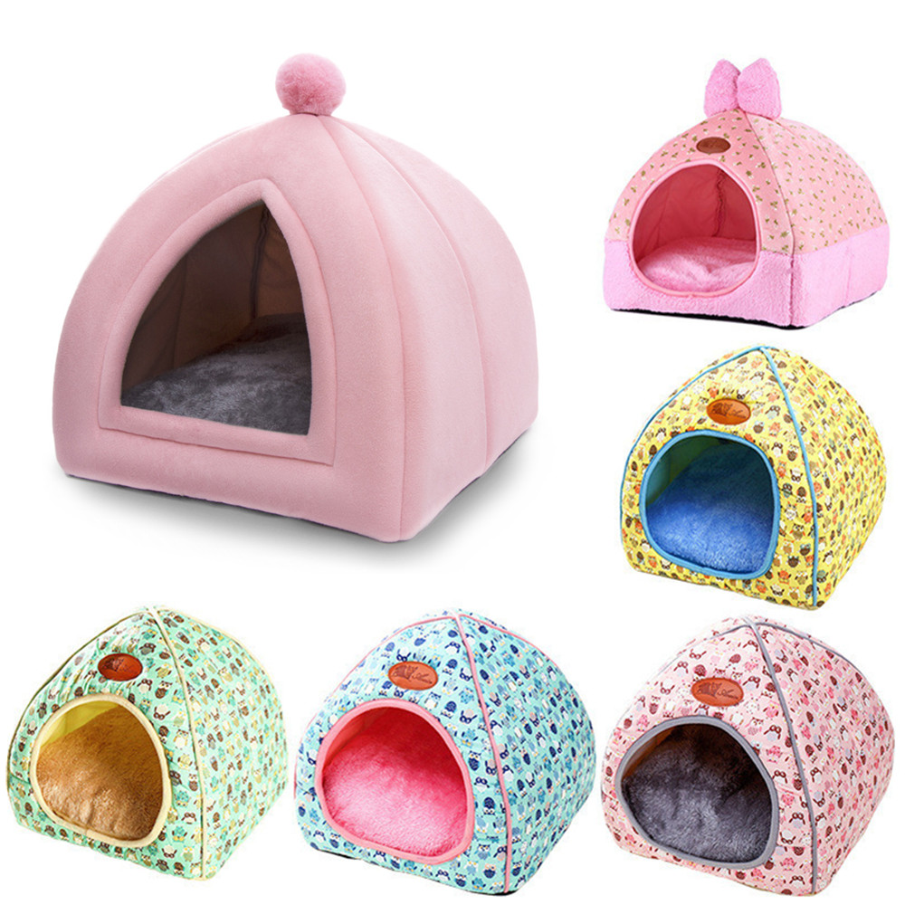 Soft Pet Beds Tent Rabbit Design Cat House With A Hole Warm Portable Removable Washable Cats Litter Kennel Nest Puppy 1