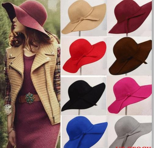 Vintage Lady Womens Wide Brim Wool Felt Hat Floppy Felt Bowler Cloche Cap