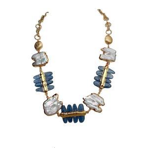 Natural Pearl Cultured White Keshi Pearl Natural Blue Kyanite Gemstone Necklace 21