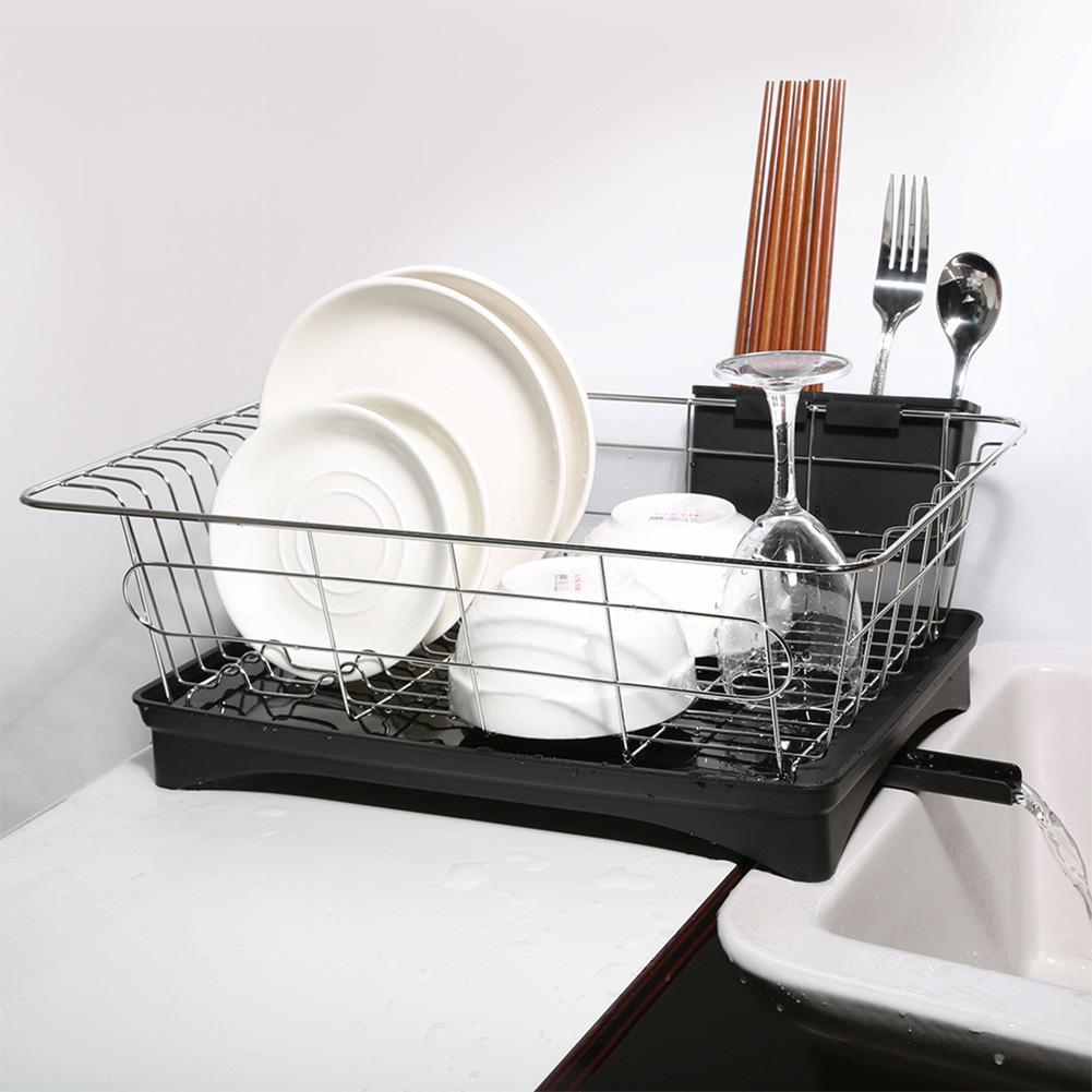 Stainless Steel Single Layer Dish Rack Kitchen Organizer Storage Drainer Drying Plate Shelf Sink Knife Fork Container Accessorie 1