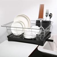 Escurridor de vajilla de acero inoxidable de una sola capa, organizador de cocina, bandeja de secado, estante para fregadero, cuchillo, recipiente para tenedores, accesorio