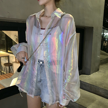 White Sexy Blouse Women Casual Long Sleeve Top Shirts Loose Summer Streetwear Hip Hop Dazzling Korean Transparent Shirt