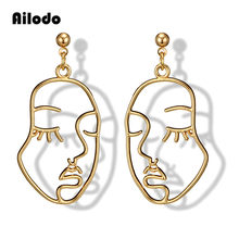 Ailodo 2019 New Arrival Abstract Stylish Hollow Out Face Dangle Earrings Girls Statement Drop Earrings boucles d'oreilles LD304(China)